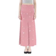 Pink background with white hearts on lines Maxi Skirts