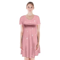 Pink background with white hearts on lines Short Sleeve V-neck Flare Dress