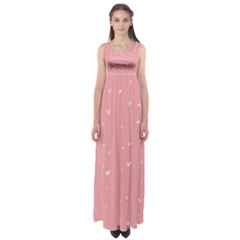 Pink background with white hearts on lines Empire Waist Maxi Dress