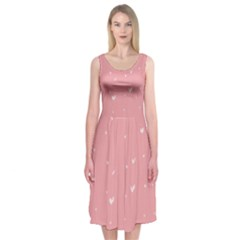 Pink background with white hearts on lines Midi Sleeveless Dress