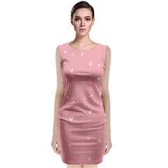 Pink background with white hearts on lines Classic Sleeveless Midi Dress