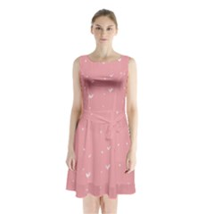 Pink background with white hearts on lines Sleeveless Chiffon Waist Tie Dress