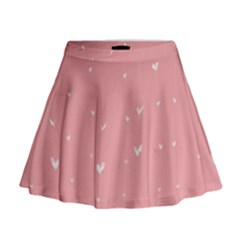 Pink background with white hearts on lines Mini Flare Skirt