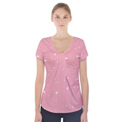 Pink background with white hearts on lines Short Sleeve Front Detail Top