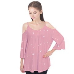 Pink Background With White Hearts On Lines Flutter Tees