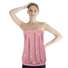 Pink background with white hearts on lines Strapless Top