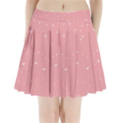 Pink background with white hearts on lines Pleated Mini Skirt