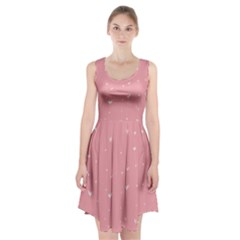 Pink background with white hearts on lines Racerback Midi Dress