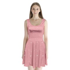 Pink background with white hearts on lines Split Back Mini Dress