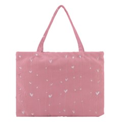 Pink background with white hearts on lines Medium Tote Bag