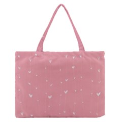 Pink background with white hearts on lines Medium Zipper Tote Bag