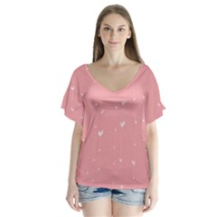 Pink background with white hearts on lines Flutter Sleeve Top