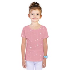 Pink background with white hearts on lines Kids  One Piece Tee