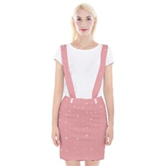 Pink background with white hearts on lines Suspender Skirt
