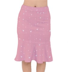 Pink Background With White Hearts On Lines Mermaid Skirt