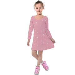 Pink background with white hearts on lines Kids  Long Sleeve Velvet Dress