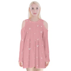 Pink background with white hearts on lines Velvet Long Sleeve Shoulder Cutout Dress
