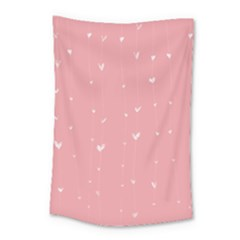 Pink background with white hearts on lines Small Tapestry