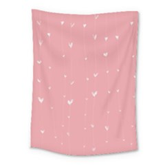 Pink background with white hearts on lines Medium Tapestry