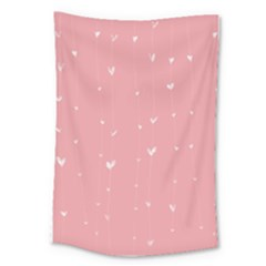 Pink background with white hearts on lines Large Tapestry