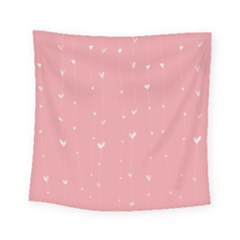 Pink background with white hearts on lines Square Tapestry (Small)