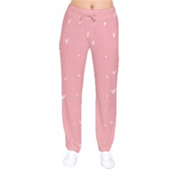 Pink background with white hearts on lines Drawstring Pants