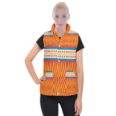 Shapes In Retro Colors          Women s Button Up Puffer Vest