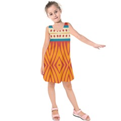 Shapes in retro colors      Kid s Sleeveless Dress