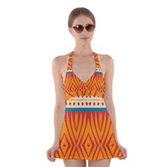 Shapes in retro colors          Halter Swimsuit Dress