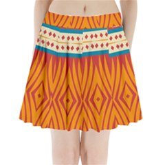 Shapes in retro colors   Pleated Skirt