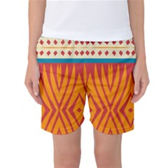 Shapes in retro colors Women s Basketball Shorts