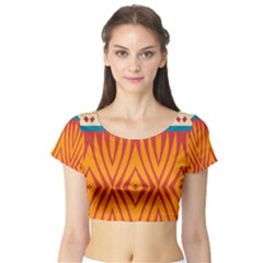 Shapes in retro colors       Short Sleeve Crop Top