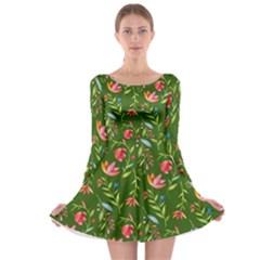 Sunny Garden I Long Sleeve Skater Dress