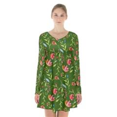 Sunny Garden I Long Sleeve Velvet V Neck Dress