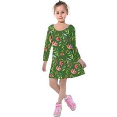 Sunny Garden I Kids  Long Sleeve Velvet Dress