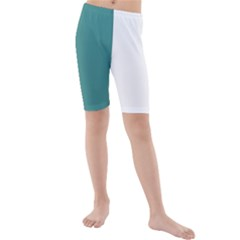 Turquoise Abstract Kids  Mid Length Swim Shorts