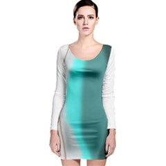 Turquoise Abstract Long Sleeve Bodycon Dress