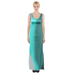 Turquoise Abstract Maxi Thigh Split Dress
