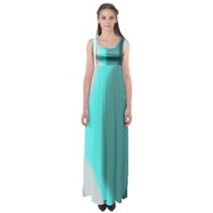 Turquoise Abstract Empire Waist Maxi Dress
