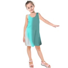 Turquoise Abstract Kids  Sleeveless Dress