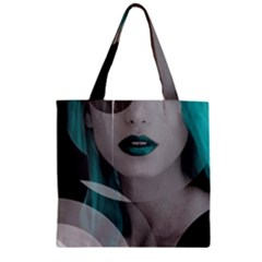 Turquoise Angel Zipper Grocery Tote Bag