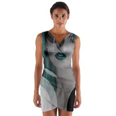 Turquoise Angel Wrap Front Bodycon Dress