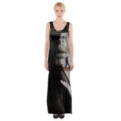 Burnt Maxi Thigh Split Dress