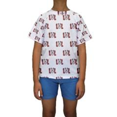 Funny Emoji Laughing Out Loud Pattern  Kids  Short Sleeve Swimwear