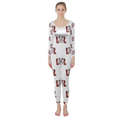 Funny Emoji Laughing Out Loud Pattern  Long Sleeve Catsuit