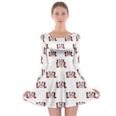 Funny Emoji Laughing Out Loud Pattern  Long Sleeve Skater Dress