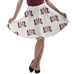 Funny Emoji Laughing Out Loud Pattern  A-line Skater Skirt
