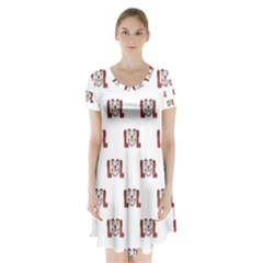 Funny Emoji Laughing Out Loud Pattern  Short Sleeve V-neck Flare Dress