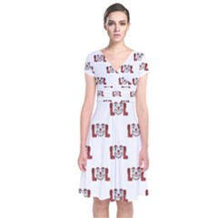 Funny Emoji Laughing Out Loud Pattern  Short Sleeve Front Wrap Dress
