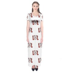 Funny Emoji Laughing Out Loud Pattern  Short Sleeve Maxi Dress